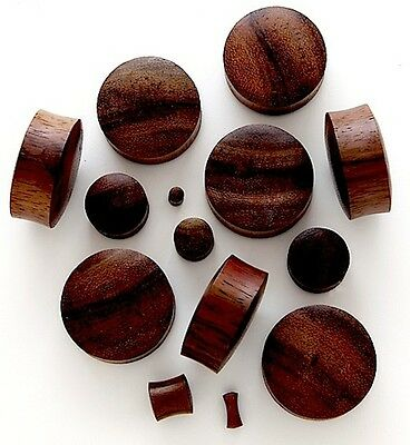 PAIR OF BROWN SONO WOOD DOMED ORGANIC HAND CARVED EAR PLUGS  3-30mm