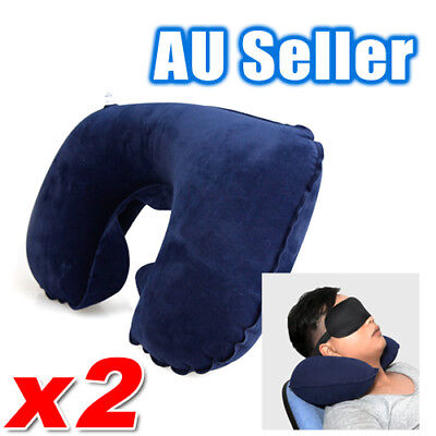 2x Inflatable Travel Pillow Air Cushion Neck Rest U-Shaped Compact Plane Flight