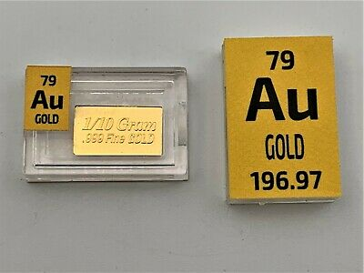 Gold .999 0.1 Gram Rare Pure Solid Gold Metal Ingot in a Periodic Element Tile.