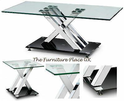 Coffee Table or Lamp End Table  Chrome X-Frame with Glass Top - Contemporary