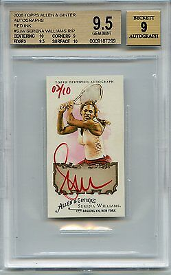 2008 Topps Allen & Ginter SERENA WILLIAMS mini from rip card red ink auto #2/10