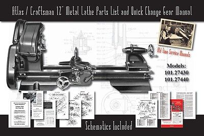 "Atlas/Craftsman 12"" Metal Lathe Parts List & Quick Change 101.27430 & 101.27440"