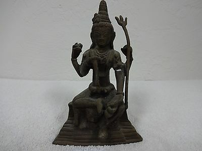 """20% OFF! Antique Asian very heavy bronze Royal figural statue 6-3/4"""" tall"""