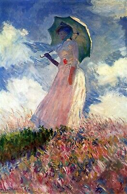 The Walk Woman with a Parasol by Monet Giclee Print Stretched Canva 20x16