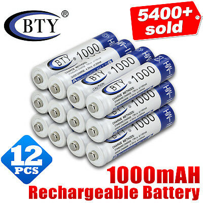 12x 1.2V 1000mAH AAA NI-MH Recharge Rechargeable Battery