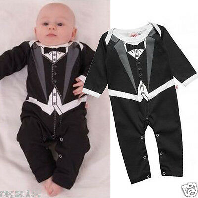 Baby Boy Funky Tuxedo Bodysuit Outfit Christening Wedding Party Playsuit