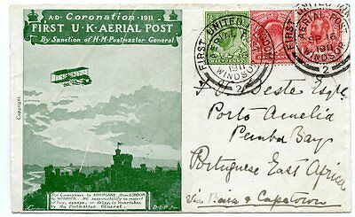 "RARE 1911 ""Coronation Aerial Post"" green envelope to PORTUGUESE EAST AFRICA"