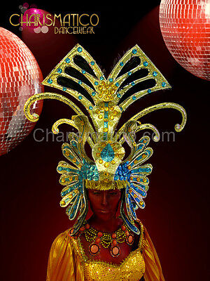 Sky Blue Accented Golden Egyptian Pharaoh Headdress With Ruby Crystals