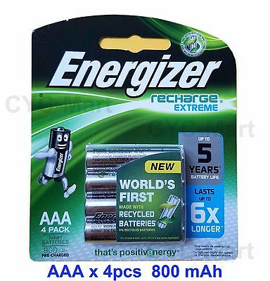 New Energizer AAA x4 NiMH 800mAh rechargeable Made in Japan FREE POST