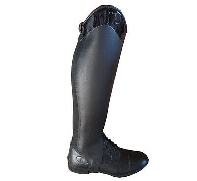 Ladies Childrens Black Leather Horse Riding Half Chaps Gaiters Gloss Top 13 Size