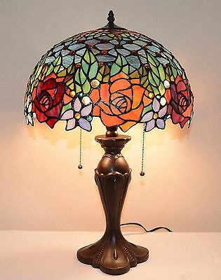 """16""""W Rose Flower Jeweled Stained Glass Tiffany Style Table Desk Lamp, Zinc Base"""