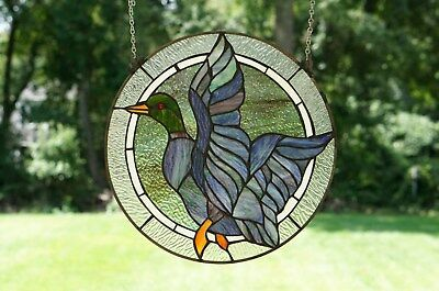 "16"" MALLARD DUCK BIRD Tiffany Style Stained Glass Suncatcher Panel"