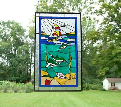 "20"" x 34"" Dolphin Boat Seashore Beach Handcrafted stained glass window panel"