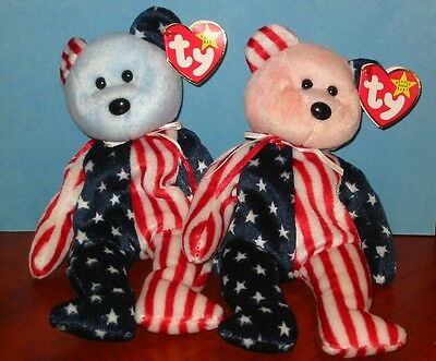 """Beanie Babies  """"Spangle""""  with Pink Face & with Blue face 1999 TY"""