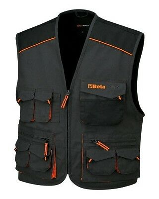 Beta Tools 7907E Sleeveless Work Jacket, Multipocket Style, In T/c Canvas   Xxl