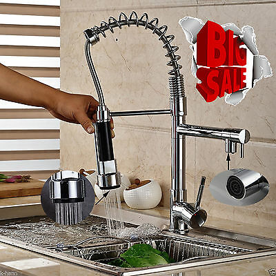 Solid Brass Chrome Finished Pull Out Spring Kitchen Sink Faucet W/ Dual Spouts