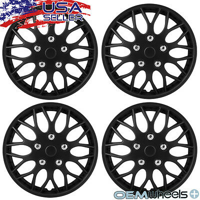 "4 New Matte Black 14"" Hubcaps Fits Isuzu Suv Car Steel Wheel Covers Set Hubcaps"