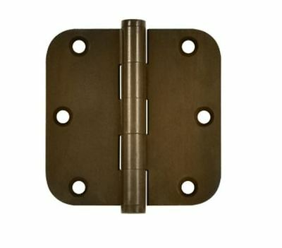 "Door Hinge 3-1/2"" x 3-1/2"" 5/8"" Radius Corner, Solid Brass, Distressed Finishes"