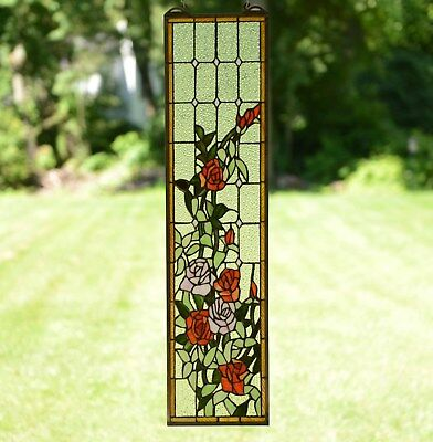 "9"" x 36"" Tiffany Style stained glass window panel Rose Flowers"