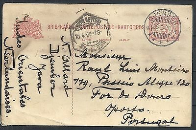 Netherland Indies 1920 PC DJEMBER to Oporto