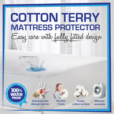 All Size Fully Fitted Cotton Terry Towelling Waterproof Mattress Protector