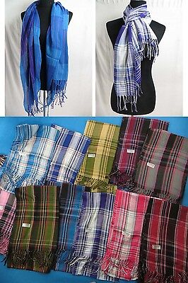 lot of 12 wholesale mens' scarves  unisex plaid checked pashmina scarf shawls