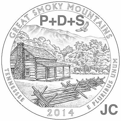 2014 P&D&S Great Smoky Mountains National PARK QUARTERS 3 Coin SET Smokey Mt.P87