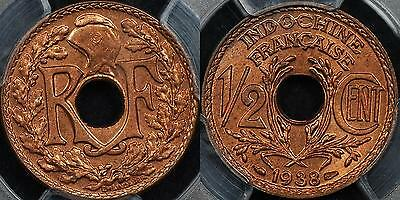 French Indo China 1938 Half Cent 1/2c PCGS MS64+RD Gem Uncirculated