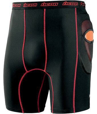 Icon Field Armor Stryker Shorts D3O Padded Motorcycle Stunt Shorts Black / Red