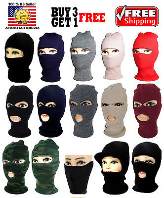 BLACK 1 2 3 HOLE ONE TWO THREE HOLES FACE MASK THERMAL WARM KNIT BEANIE SKI