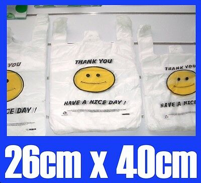 100 Singlet Plastic Carry Shopping Bags Smiley Smile Smiling  face 26cmx40cm