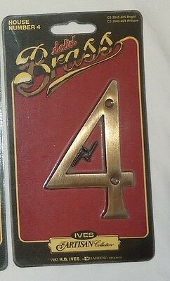 """Ives Artisan Solid Brass Decorative 4"""" House Number 4 in ANTIQUE BRASS NEW!!"""