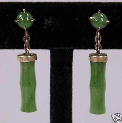 "Vintage 14K Gold Green Jadeite Jade Carved in Bamboo Shape Drop Earrings 1.5""h"