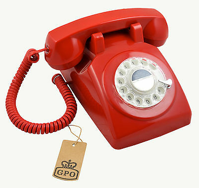 GPO 1970's traditional retro rotary dial telephone - Red