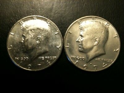 1974 P&D Kennedy Half Dollar Set AU/BU Clad no Silver 50 Cent About UNC MS Mint