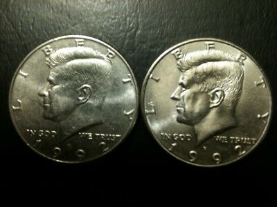 1992 P&D Kennedy Half Dollar Set AU/BU Clad no Silver US 50 Cent About UNC MS