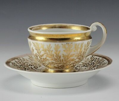 19th Century 2pc Set Porcelain Footed Tea Cup and Saucer - KPM - ivy and leaf