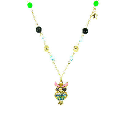 ilovefj Multi-Coloured on Gold Plated Glass Bead Owl Necklace