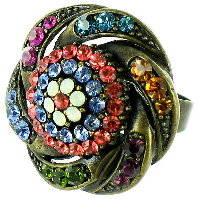 Multi-Coloured on Antique Gold Round Bling Ring