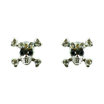 Clear Crystal on Silver Plated Small Skull Stud Earrings