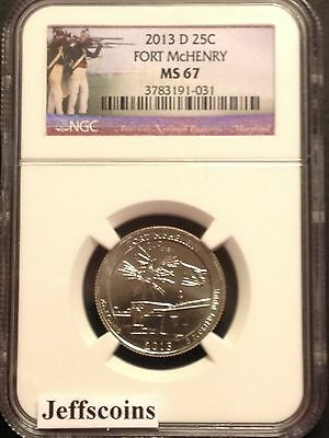 2013 D Mint NGC MS67 Fort McHenry NATIONAL MONUMENT QUARTER ATB Maryland FT.