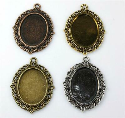 5 ANTIQUE SILVER BRONZE GOLD COPPER SETTING FRAME FOR 25mm x 18mm OVAL CABOCHON