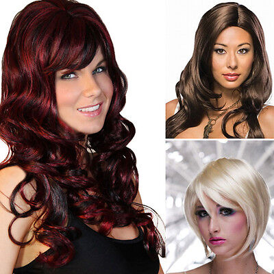 Women's Natural Colors Long Short Curly Wavy Lolita Costume Cosplay Full Wig USA