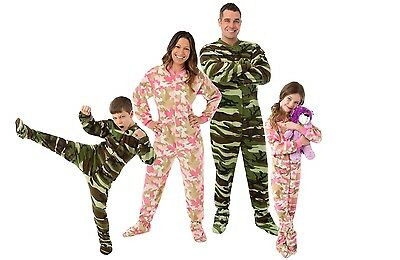 Big Feet Pjs Pink Camouflage Fleece Footed Pajamas Adult, Kids & Infant Onesie