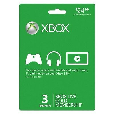 Microsoft - Xbox Live 3 Month Gold Membership Subscription Cards