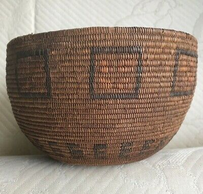 """Mission Basket ~ 5 by 8"""" - Circa Late 19th Century - 16 stitches/inch"""