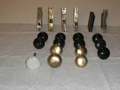 architectural salvage lot of enamel, glass and brass door knobs, locks