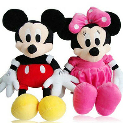 2 LARGE 46CM CUTE DISNEY MICKEY & MINNIE MOUSE PLUSH DOLL KIDS BABY SOFT TOY