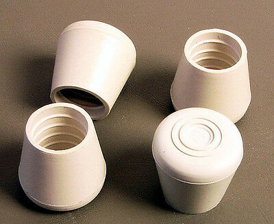 """Four 1"""" Rubber Tips- Cane, Crutch or Chair- White -Smooth Sides CT-100-W-SM"""
