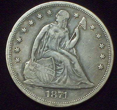 1871 SEATED LIBERTY SILVER DOLLAR VF+ to XF Detailing Authentic *PRICED TO SELL*